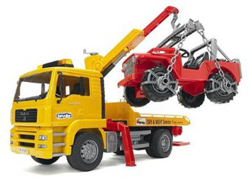 Bruder #02750 MAN TGA Tow Truck with Cross Country Vehicle! NEW! #2750
