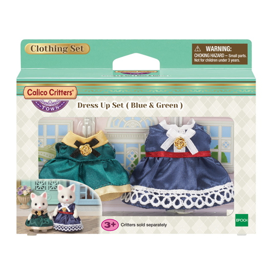 CALICO CRITTERS #CC3031 Dress Up Set Blue and Green - New Factory Sealed