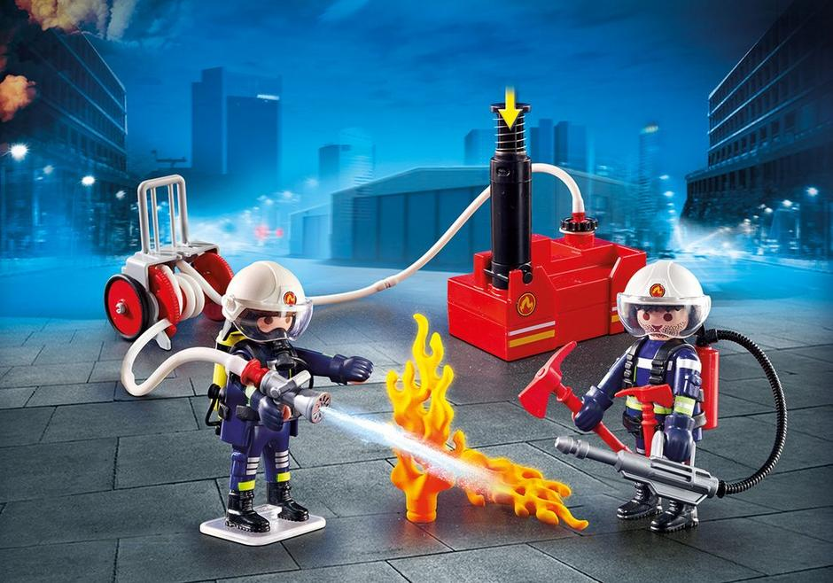 Playmobil #9468 Firefighters with Water Pump - New Factory Sealed