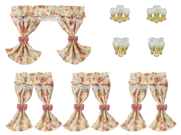 CALICO CRITTERS #CC1839 Wall Lamps and Curtains Set - New Factory Sealed