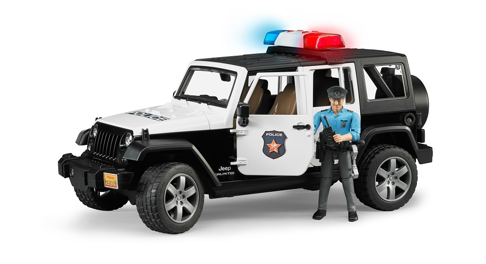 Bruder #02526 Jeep Wrangler Unlimited Rubicon with Light skinned Policeman - New Factory Sealed #2526