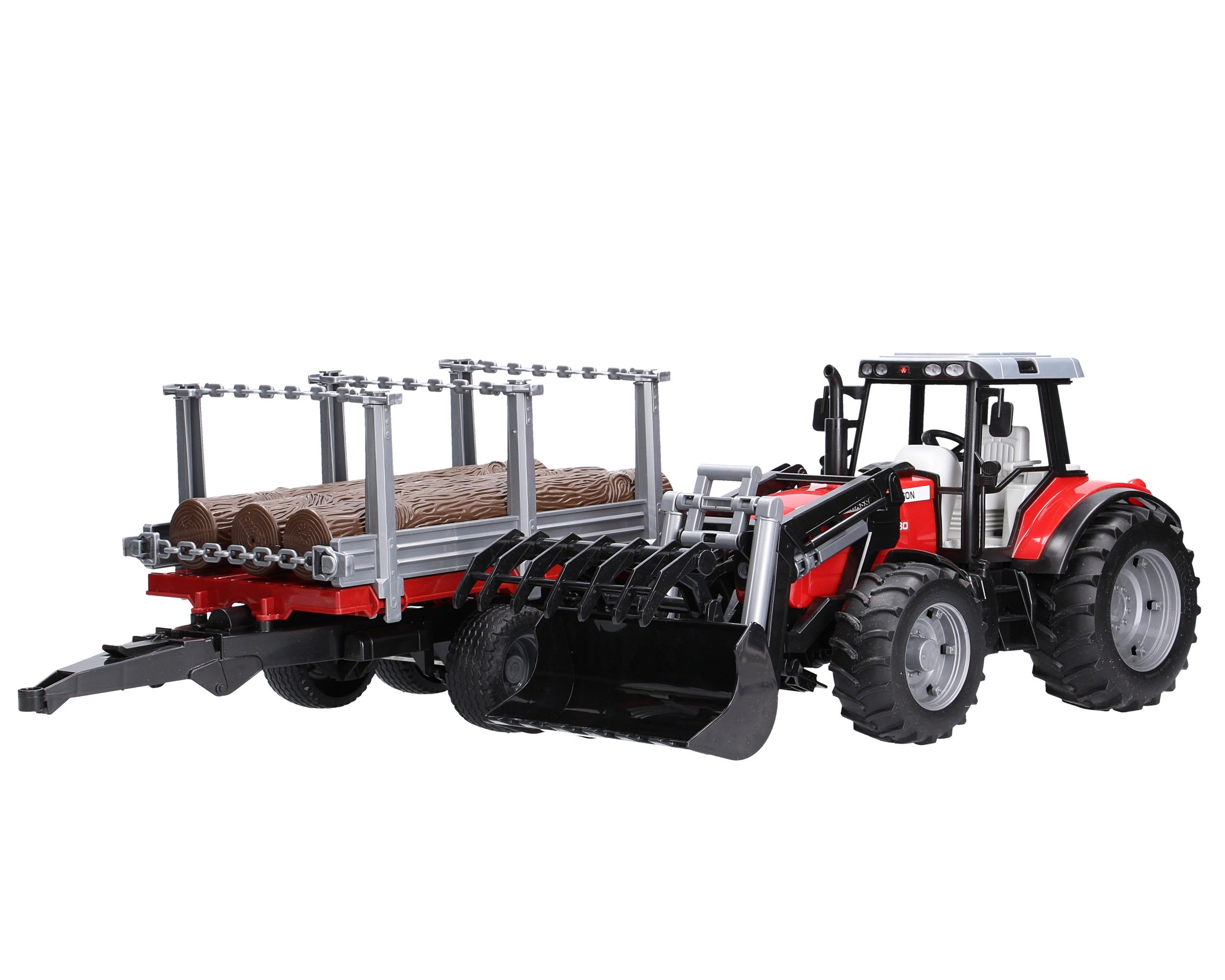 Bruder #02046 Massey Ferguson 7480 with Frontloader and Logging Trailer - New Factory Sealed