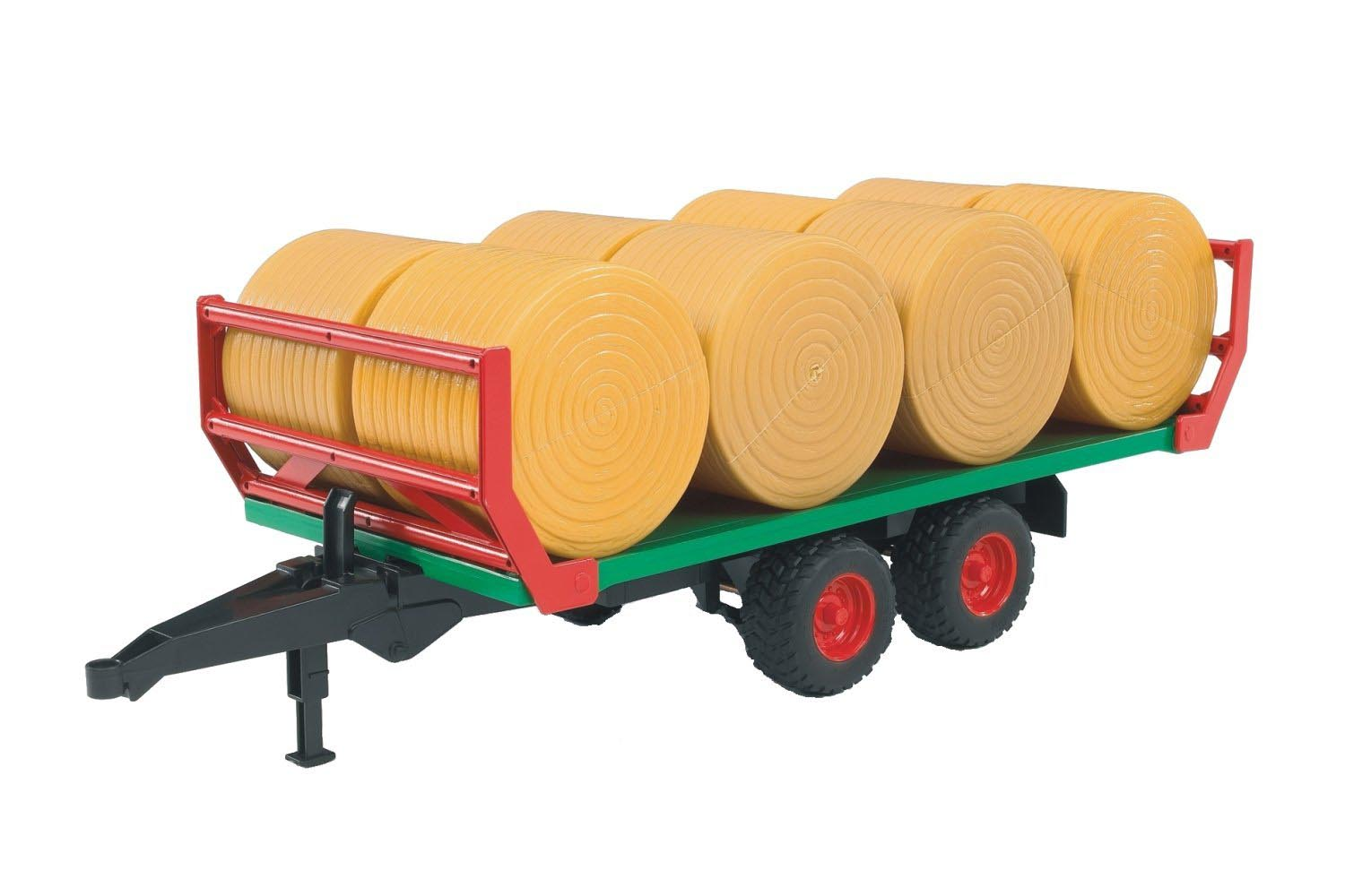 Bruder #02220 Bale Transport Trailer with 8 Round Bales! #2220