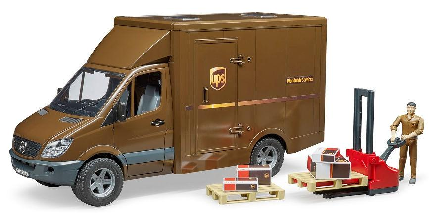 Bruder #02538 MB Sprinter UPS Truck with Driver and Pallet Jack - New Factory Sealed #2538