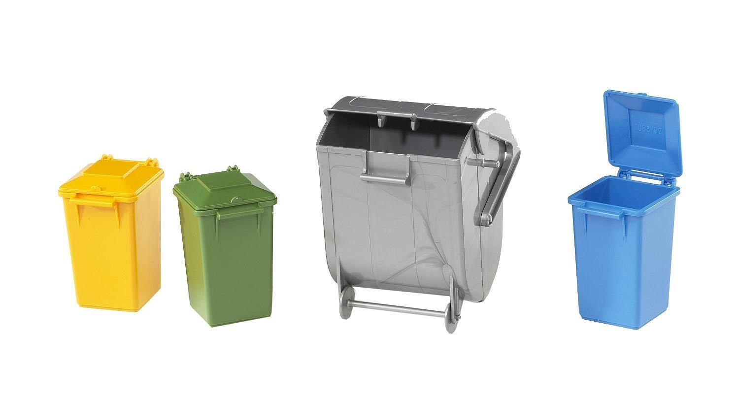 Bruder 02607 Garbage Can Set 3 Small 1 Large New