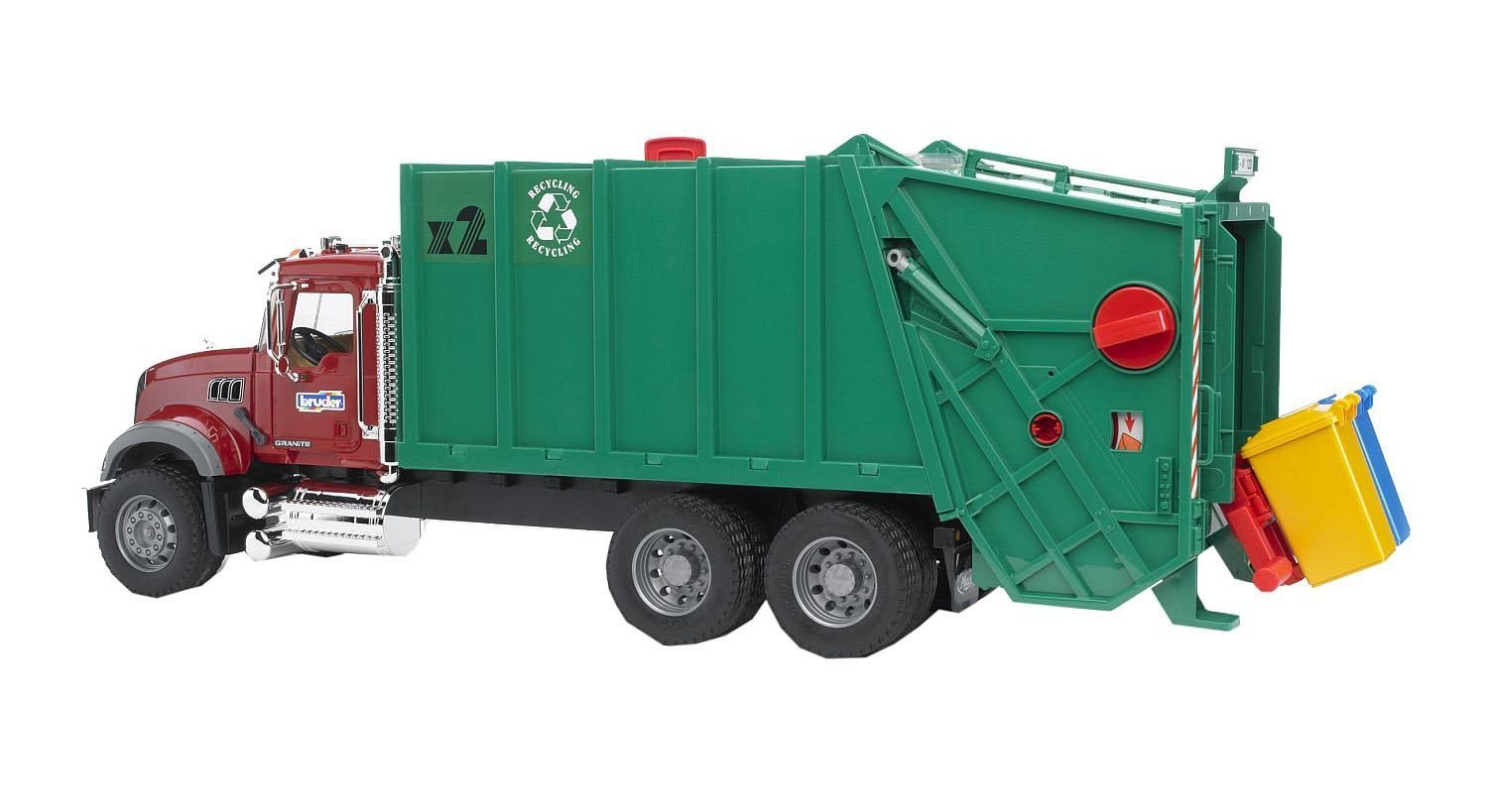 Bruder #02812 MACK Granite Garbage Truck (Ruby, Red, Green) -New-Factory Sealed #2812
