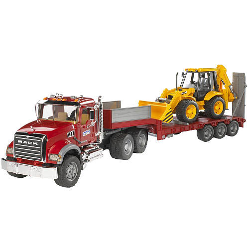 Bruder #02813 MACK Granite Truck with Low Loader and JCB Backhoe Loader! NEW! #2813