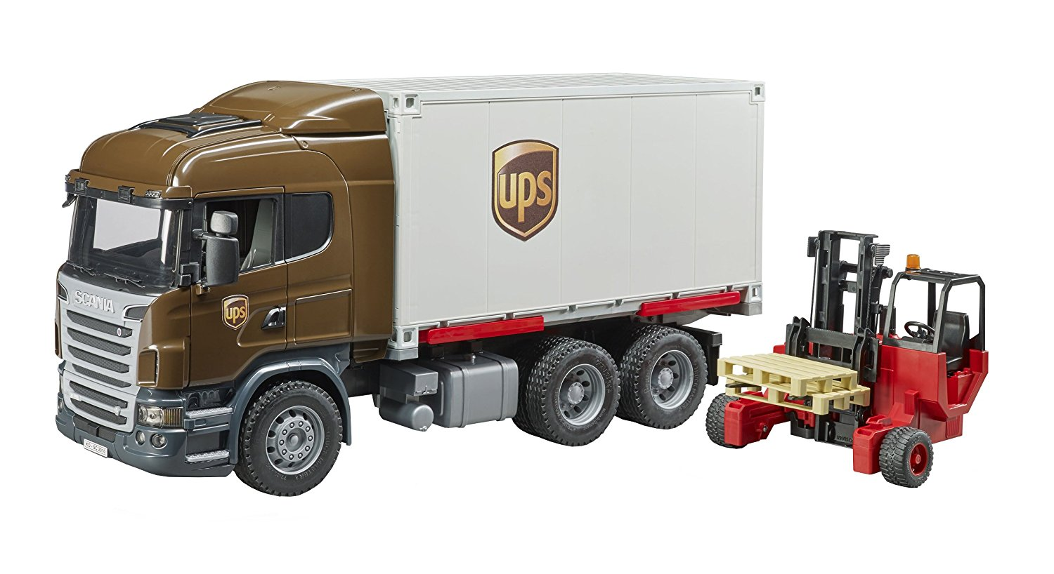 Bruder #03581 Scania R-Series UPS Logistics Truck with Forklift - New Factory Sealed