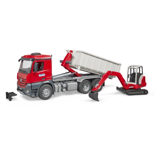 Bruder #03624 MB Arocs Truck with Roll Off Container and Mini Excavator - New Factory Sealed