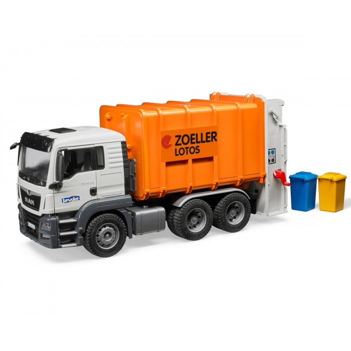 BRUDER #03762 MAN TGS Rear Loading Garbage Truck Orange #3762