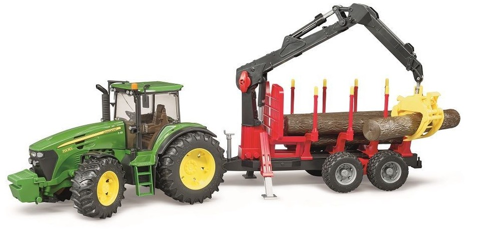 Bruder #09821 John Deere 7930 with Logging Trailer, Crane, and Logs - New Factory Sealed