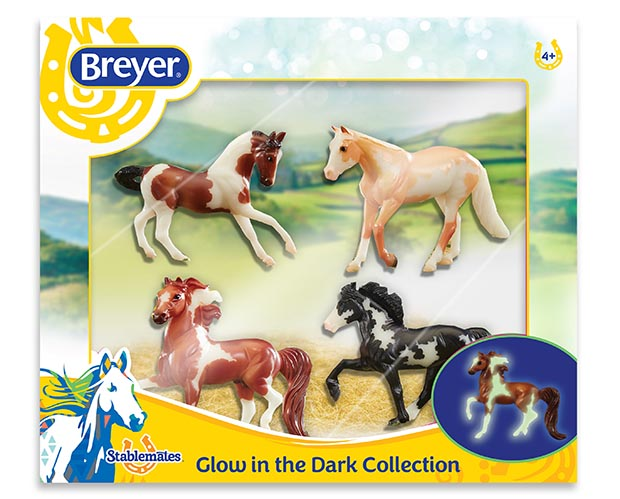 Breyer Stablemates #5396 Glow in the Dark 4 Horse Set - New Factory Sealed