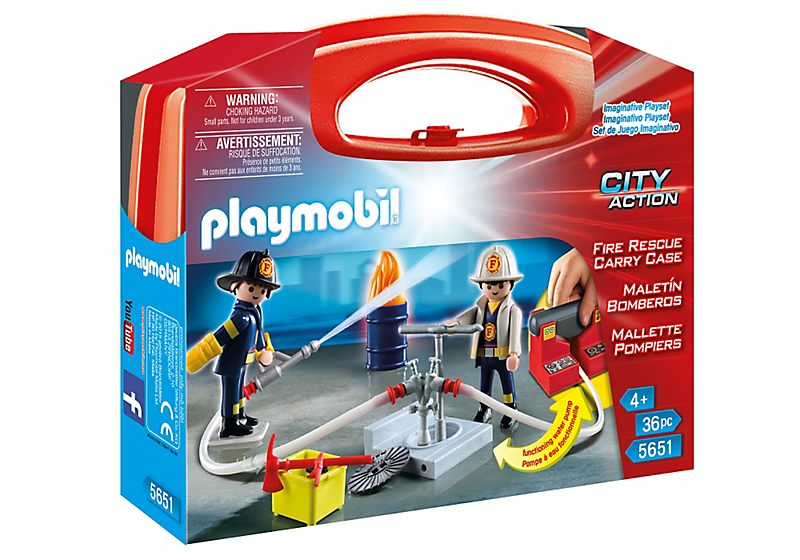 Playmobil #5651 Fire Rescue Carrying Case - New Factory Sealed - Click Image to Close