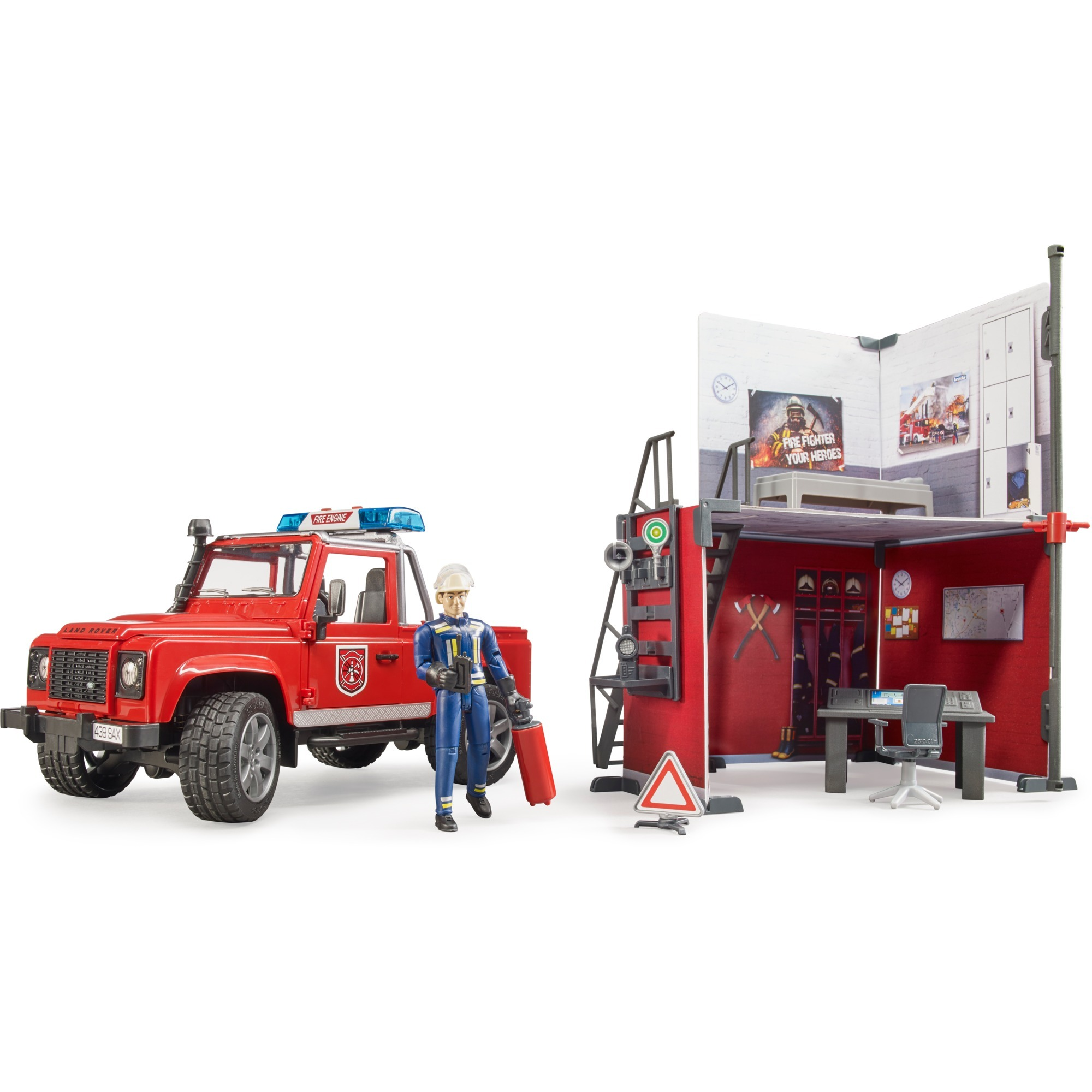BRUDER #62701 bWorld Fire Station w/ Land Rover NEW!
