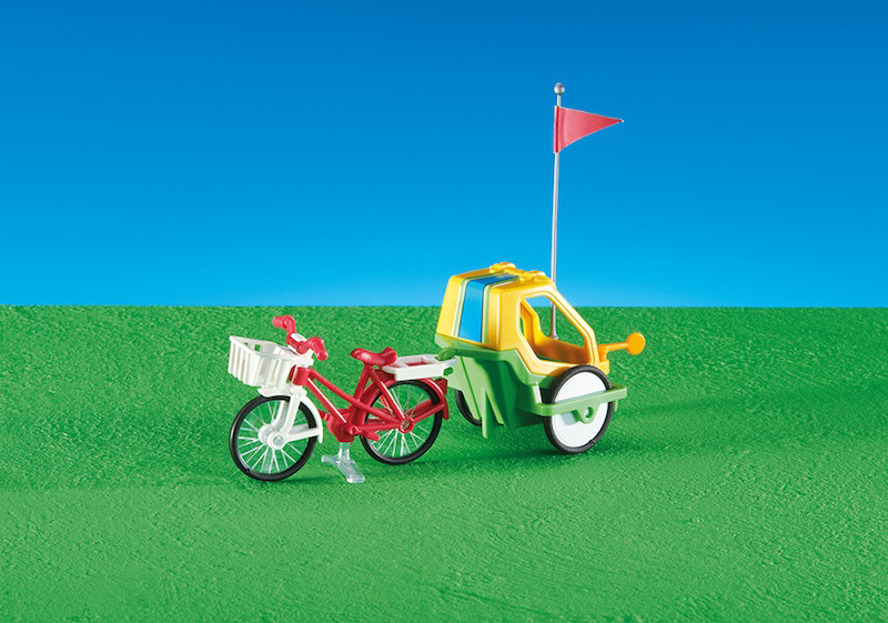 Playmobil Add On #6388 Bike with Child\'s Trailer -New-Factory Sealed!