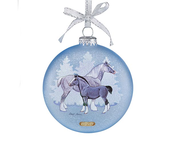 Breyer Holiday Collection #700821 Artist Signature Glass Ornament Draft Horses - New factory Sealed
