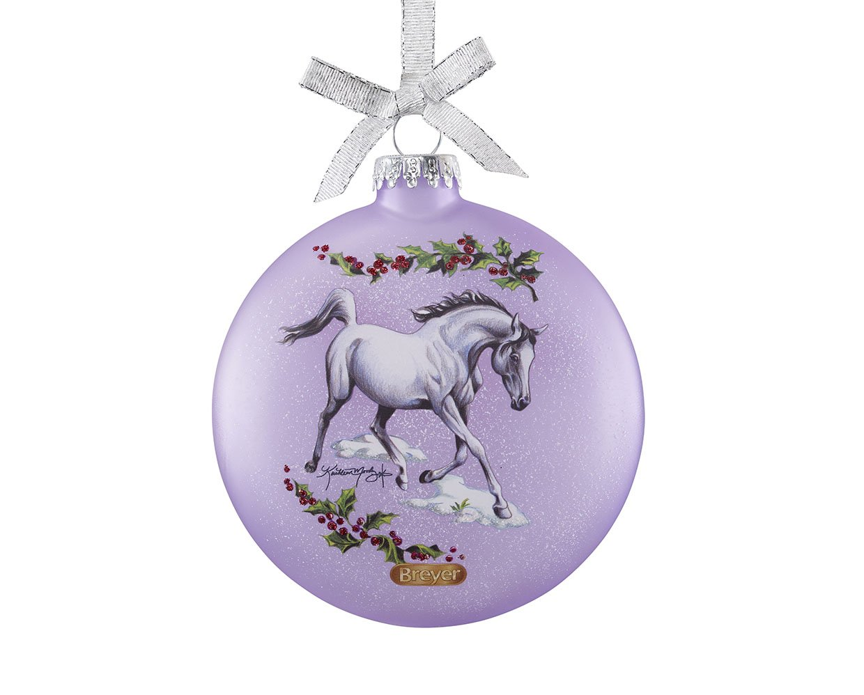 Breyer Holiday Collection #700822 2018 Artist Signature Glass Ornament - Arabian Horses - New Factory Sealed
