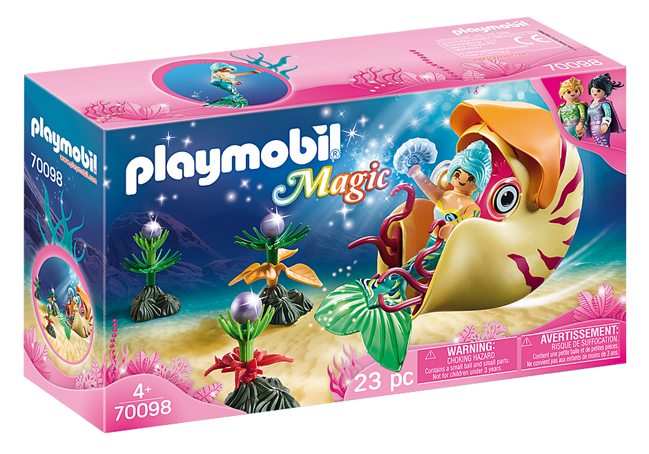 Playmobil #70098 Mermaid with Sea Snail Gondola - New Factory Sealed