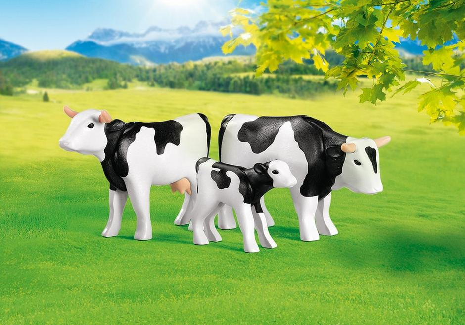 Playmobil Add On #7892 2 Cows with Calf - Black and White - New Factory Sealed