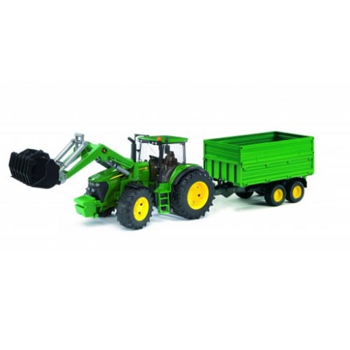 Bruder #09810 John Deere 7930 with frontloader and tandemaxle tipping trailer -New-Factory Sealed! #9810