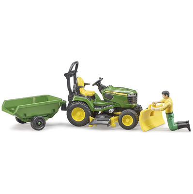 Bruder #9824 bworld John Deere Lawn Tractor w Trailer and Figure- New Factory Sealed!
