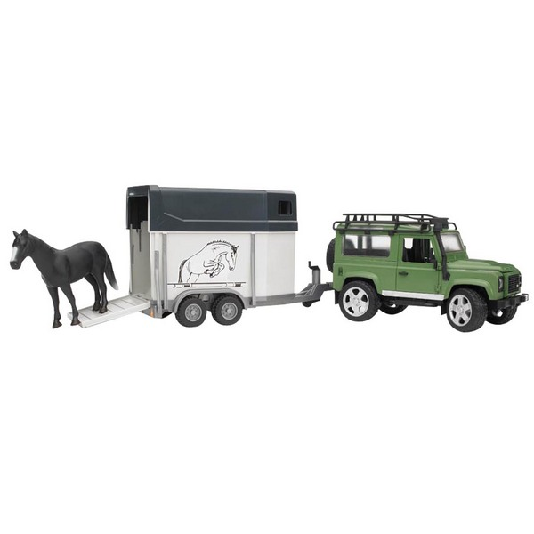 Bruder #02592 Land Rover Defender Station Wagon with Horse Trailer and Horse - New! #2592 - Click Image to Close