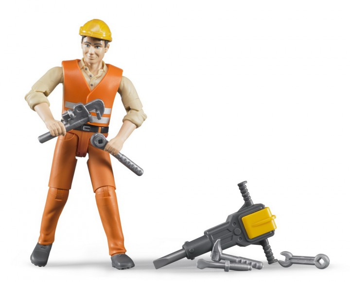 Bruder #60020 BWORLD Construction Worker with Accessories - New Factory Sealed