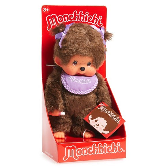 Monchhichi #200990 Girl Doll - Purple Bib - Brand New in Package - By Sekiguchi!