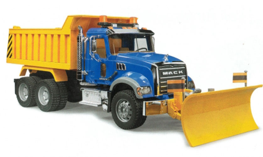 Bruder #02825 MACK Granite Dump Truck with Snow Plow Blade - New Factory Sealed #2825