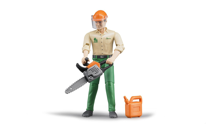 Bruder #60030 BWORLD Logging Forestry Worker with Accessories - New - Factory Sealed