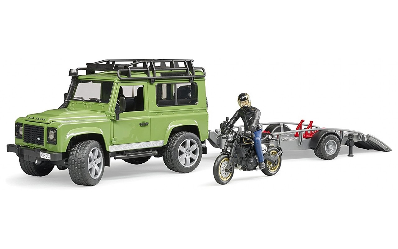 Bruder #02598 Land Rover Station Wagon with Trailer and Ducati Scrambler - New Factory Sealed #2598