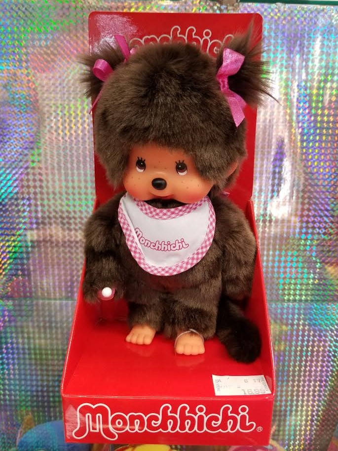 Monchhichi #255550 Girl Doll - Pink & White Bib - New in Package - By Sekiguchi!