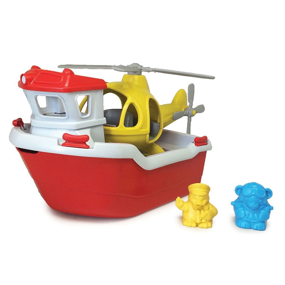 Green Toys Rescue Boat with Helicopter - New Factory Sealed