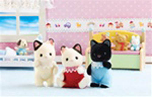 CALICO CRITTERS #CC9542 Tuxedo Kitten Triplets - New Factory Sealed